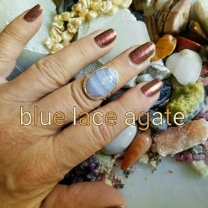 Blue Lace Agate Ring Sterling Silver